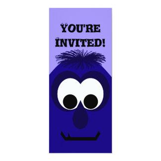 Silly Little Dark Blue Violet Monster 10 Cm X 24 Cm Invitation Card