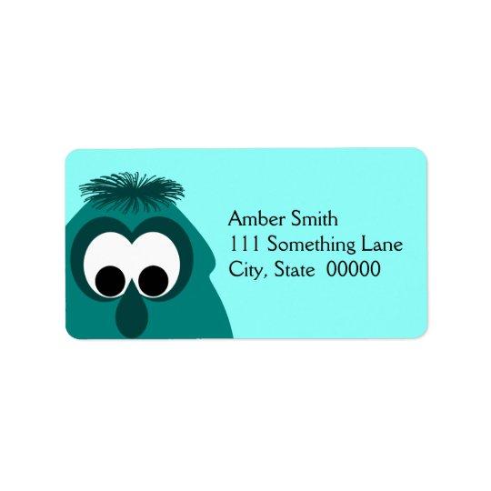 Silly Little Dark Cyan Monster Address Label