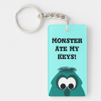 Silly Little Dark Cyan Monster Double-Sided Rectangular Acrylic Key Ring