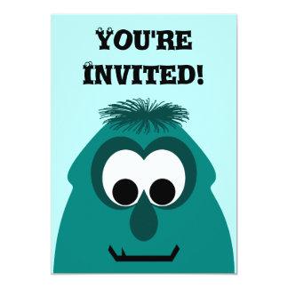 Silly Little Dark Cyan Monster 13 Cm X 18 Cm Invitation Card