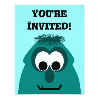 Silly Little Dark Cyan Monster 11 Cm X 14 Cm Invitation Card