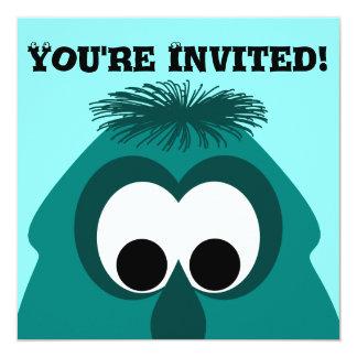 Silly Little Dark Cyan Monster 13 Cm X 13 Cm Square Invitation Card