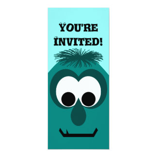 Silly Little Dark Cyan Monster 10 Cm X 24 Cm Invitation Card
