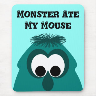 Silly Little Dark Cyan Monster Mouse Pad