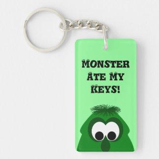 Silly Little Dark Green Monster Double-Sided Rectangular Acrylic Key Ring