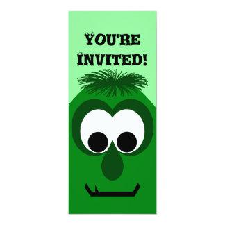 Silly Little Dark Green Monster 10 Cm X 24 Cm Invitation Card