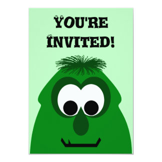 Silly Little Dark Green Monster 5x7 Paper Invitation Card