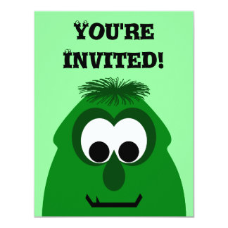 Silly Little Dark Green Monster 11 Cm X 14 Cm Invitation Card
