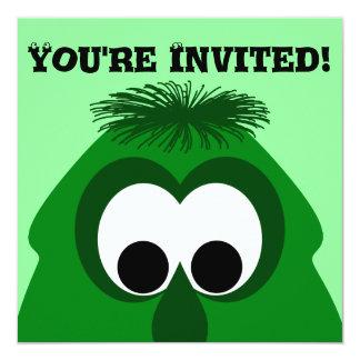 "Silly Little Dark Green Monster 5.25"" Square Invitation Card"