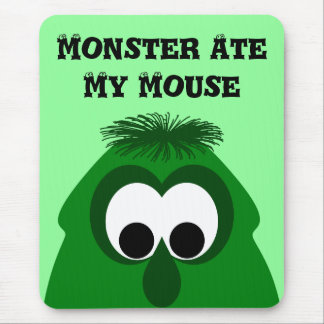 Silly Little Dark Green Monster Mouse Pad