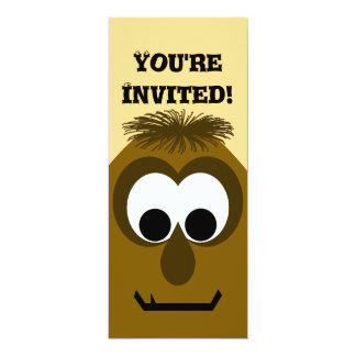Silly Little Dark Orange Monster 10 Cm X 24 Cm Invitation Card