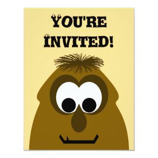 Silly Little Dark Orange Monster 11 Cm X 14 Cm Invitation Card