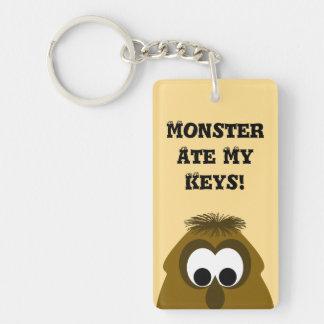 Silly Little Dark Orange Monster Rectangle Acrylic Key Chain