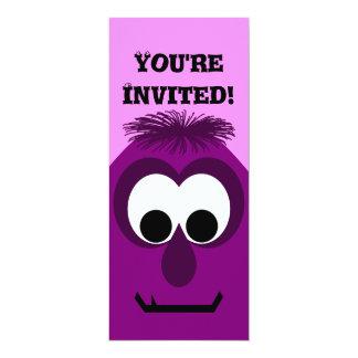 Silly Little Dark Pink Monster 10 Cm X 24 Cm Invitation Card