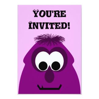 Silly Little Dark Pink Monster 13 Cm X 18 Cm Invitation Card