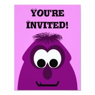 Silly Little Dark Pink Monster 11 Cm X 14 Cm Invitation Card