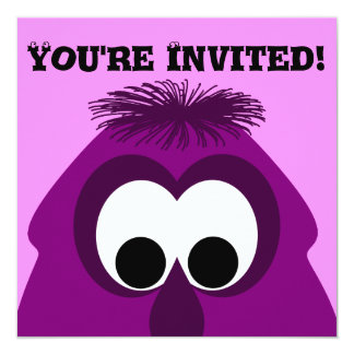 Silly Little Dark Pink Monster Personalized Invite