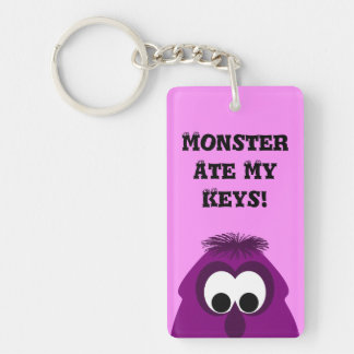 Silly Little Dark Pink Monster Double-Sided Rectangular Acrylic Key Ring