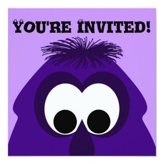 Silly Little Dark Purple Monster 13 Cm X 13 Cm Square Invitation Card