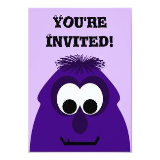 Silly Little Dark Purple Monster 13 Cm X 18 Cm Invitation Card