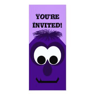 Silly Little Dark Purple Monster 10 Cm X 24 Cm Invitation Card