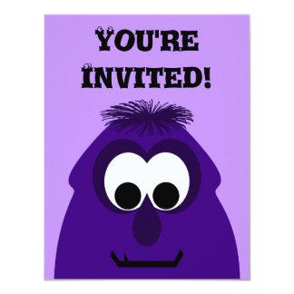 Silly Little Dark Purple Monster Custom Invitations