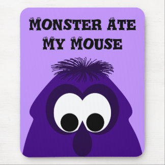Silly Little Dark Purple Monster Mouse Pad