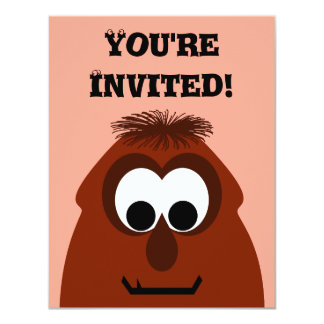 Silly Little Dark Red Monster Personalized Announcement