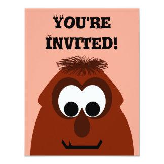 Silly Little Dark Red Monster 11 Cm X 14 Cm Invitation Card
