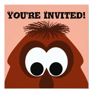 Silly Little Dark Red Monster 13 Cm X 13 Cm Square Invitation Card
