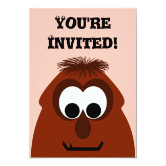 Silly Little Dark Red Monster Personalized Invite