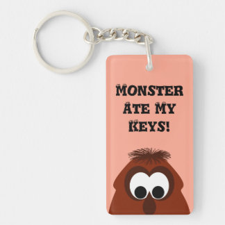 Silly Little Dark Red Monster Double-Sided Rectangular Acrylic Keychain