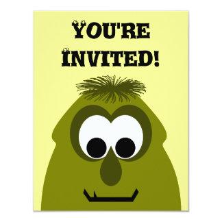 Silly Little Dark Yellow Monster 11 Cm X 14 Cm Invitation Card