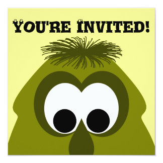 Silly Little Dark Yellow Monster 13 Cm X 13 Cm Square Invitation Card
