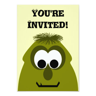 Silly Little Dark Yellow Monster 13 Cm X 18 Cm Invitation Card