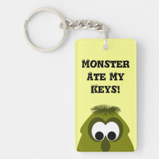 Silly Little Dark Yellow Monster Double-Sided Rectangular Acrylic Key Ring