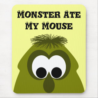 Silly Little Dark Yellow Monster Mouse Pad