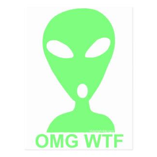 Silly Little Green Men Post Card OMG WTF