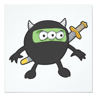 silly little ninja monster 13 cm x 13 cm square invitation card