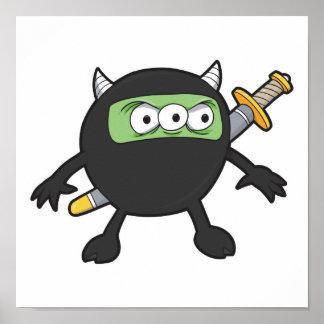 silly little ninja monster poster