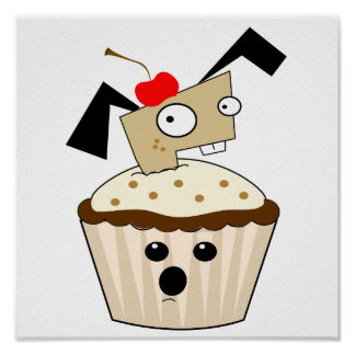 silly little puppy dog in cupcake kawaii cartoon posters