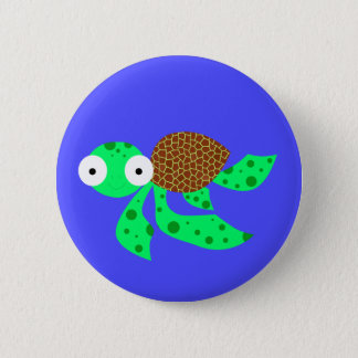 Silly little sea turtle 6 cm round badge