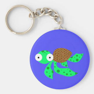 Silly little sea turtle basic round button key ring