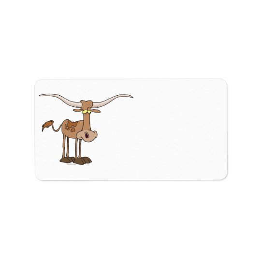 silly longhorn cow cartoon character address label