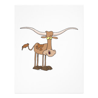 silly longhorn cow cartoon character custom flyer