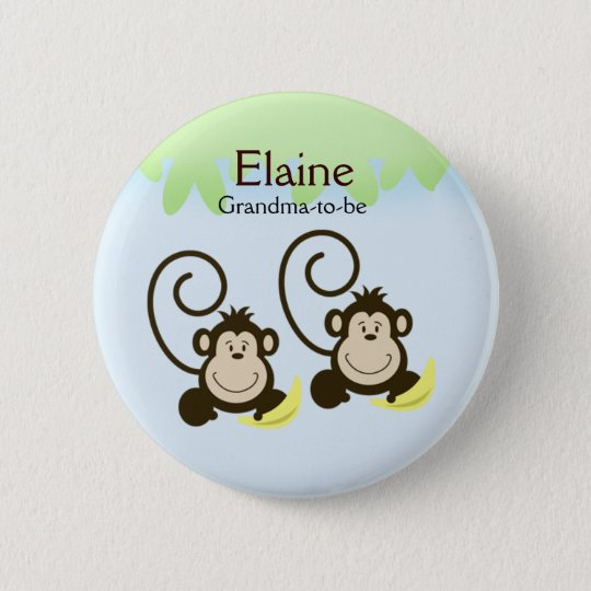 SILLY MONKEYS NAME TAG Personalised Button