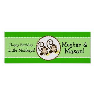 Silly Monkeys Personalized Birthday Banner Poster
