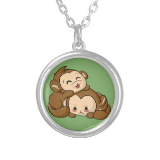 Silly Monkeys! Silver Plated Necklace