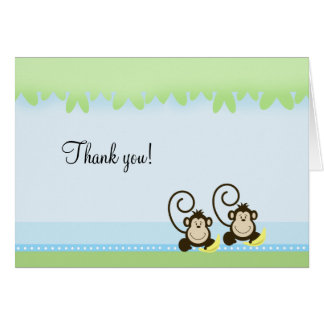 Silly Monkeys Twins Folded Thank you notes