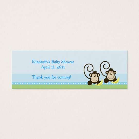 Silly Monkeys Twins Shower / Birthday Favour Tag